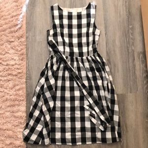 Vintage Checkered Dress with Red Petticoat